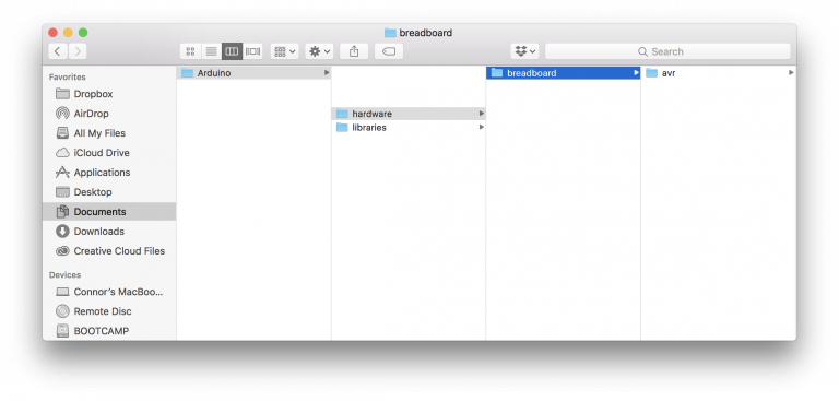 Arduino IDE hardware folder structure