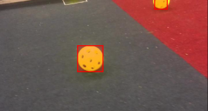 Image of ball on field with red rectangle drawn due to its being recognized by the algorithm