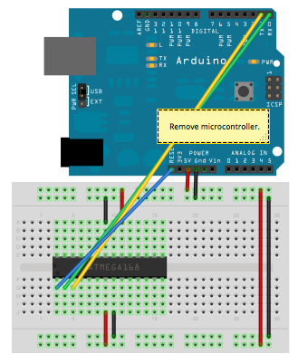 ATmega328P on a breadboard programming configuration