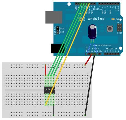 ATtiny85 on a breadboard programming configuration